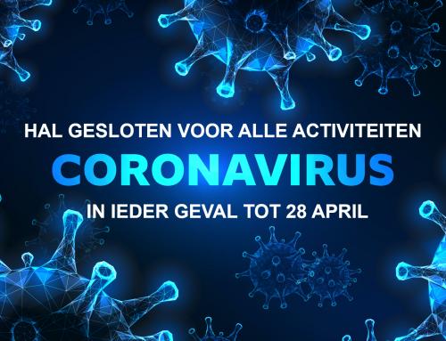 Corona update: zalen gesloten tot en met in ieder geval 28 april en competitie geannuleerd